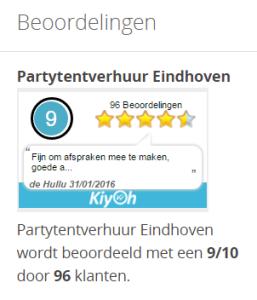 Beoordeling Partytent verhuur Eindhoven